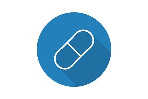 Medicine pill flat linear long shadow icon