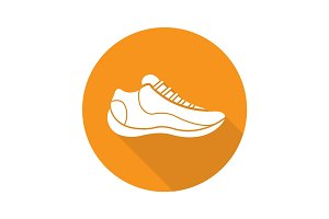 Sneaker flat design long shadow glyph icon