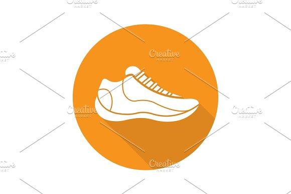 Sneaker Flat Design Long Shadow Glyph Icon