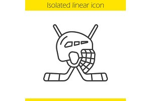 Ice hockey equipment linear icon