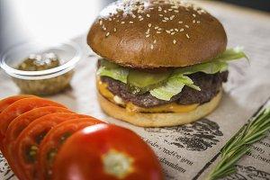 Big tasty burger on the table