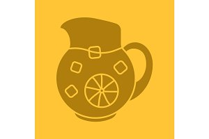 Lemonade jug glyph color icon