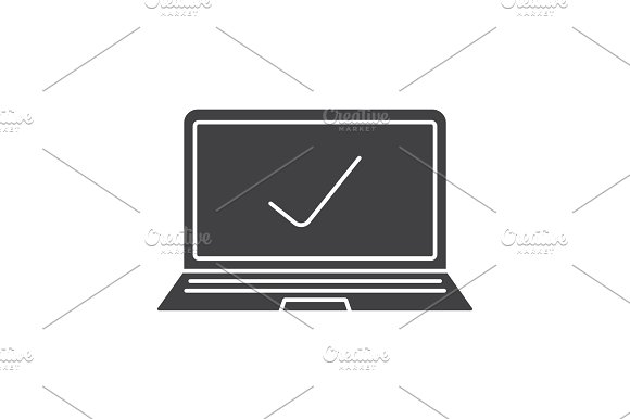 Laptop With Tick Mark Glyph Icon