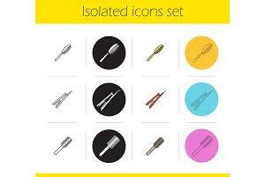 Women's hair accessories icons set