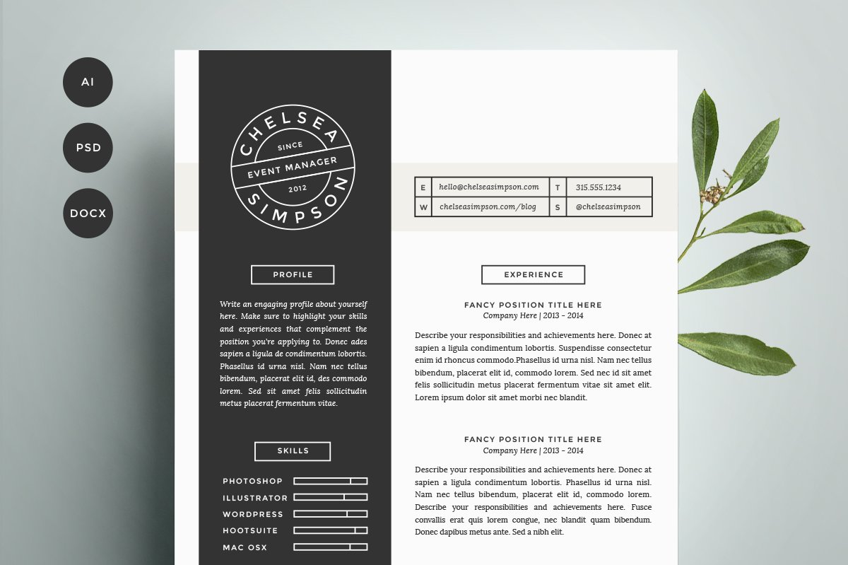Resume cover letter template resume templates creative market madrichimfo Images