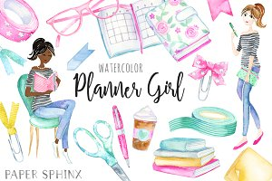 Watercolor Planner Girl Pack