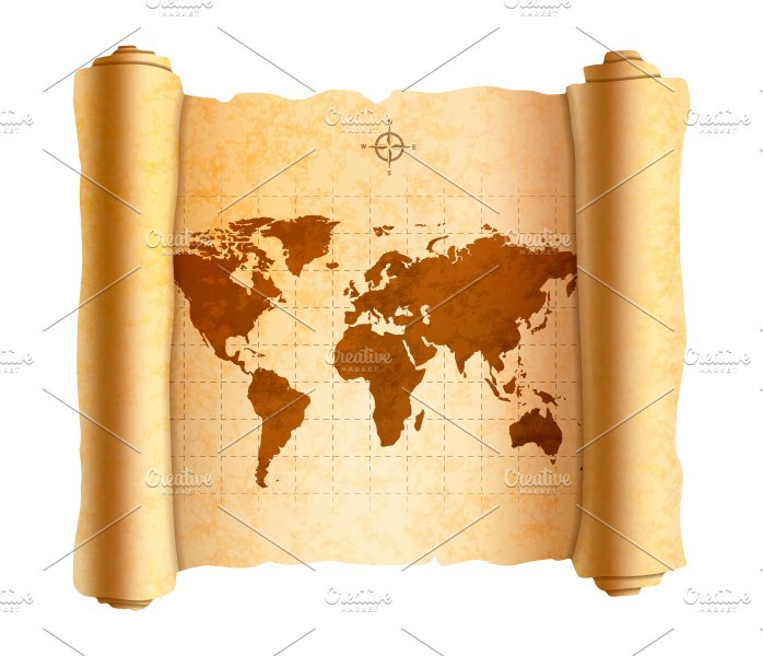 Ancient world map on old scroll ~ Graphic Objects ~ Creative Market