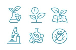 A set of icons biotechnology. Biology chemistry plants and flasks. Agriculture and agronomist.