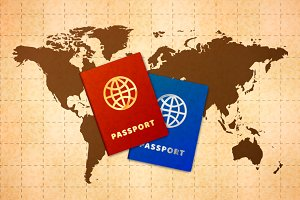 Two passports on ancient world map