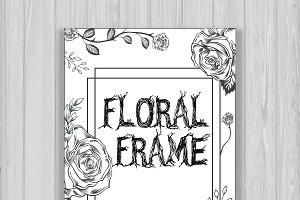 B&W Floral frame