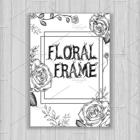 B W Floral Frame