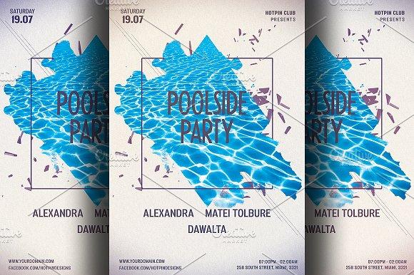 minimal summer pool party flyer flyer templates creative market