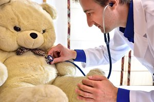 Pediatrician concept teddy close up