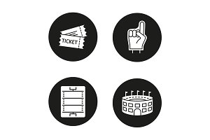 American football glyph icons set