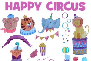 Happy Circus Fun Watercolor set