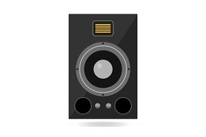 Audio loud speaker isolated on white background. Vector illustration of sound monitor.