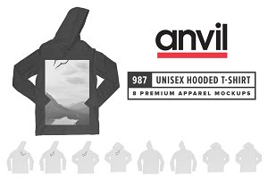 Anvil 987 Unisex Hooded T-Shirt