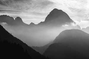 Foggy sunset in the mountains