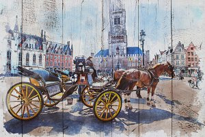 watercolor of belgium.