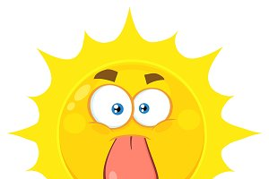 Funny Yellow Sun Cartoon Character