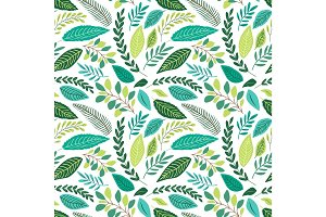 Cute seamless botanical pattern with hand drawn green leaves