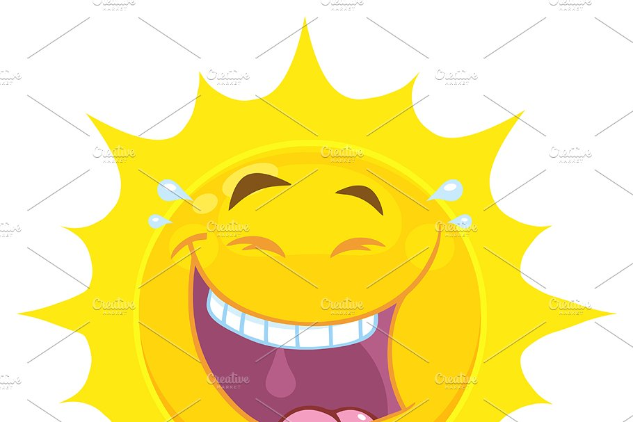 766a06ded13c Yellow Sun With Smiling Expression ~ Illustrations ~ Creative Market
