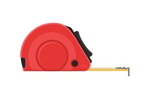 Self-retracting tape measure. Red ruler. Vector flat icon.