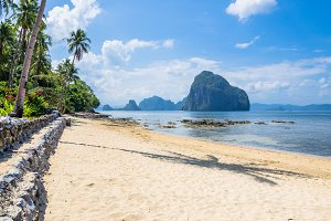 Sunny Marimegmeg Beach in Low Tide in El Nido, Palawan, Philippines