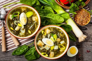 Spinach, Potato and Sorrel Soup