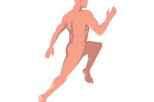 male human anatomy running rear