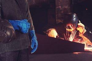Welder in the factory