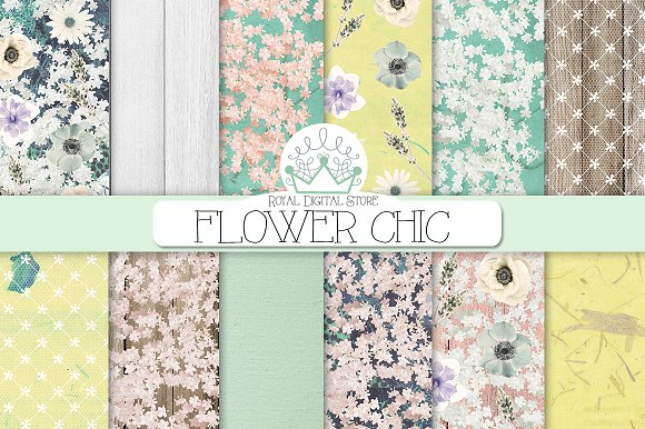 FLORAL Shabby Chic Digital Paper