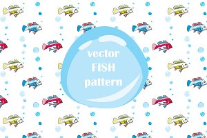 Fishs and bubbles pattern