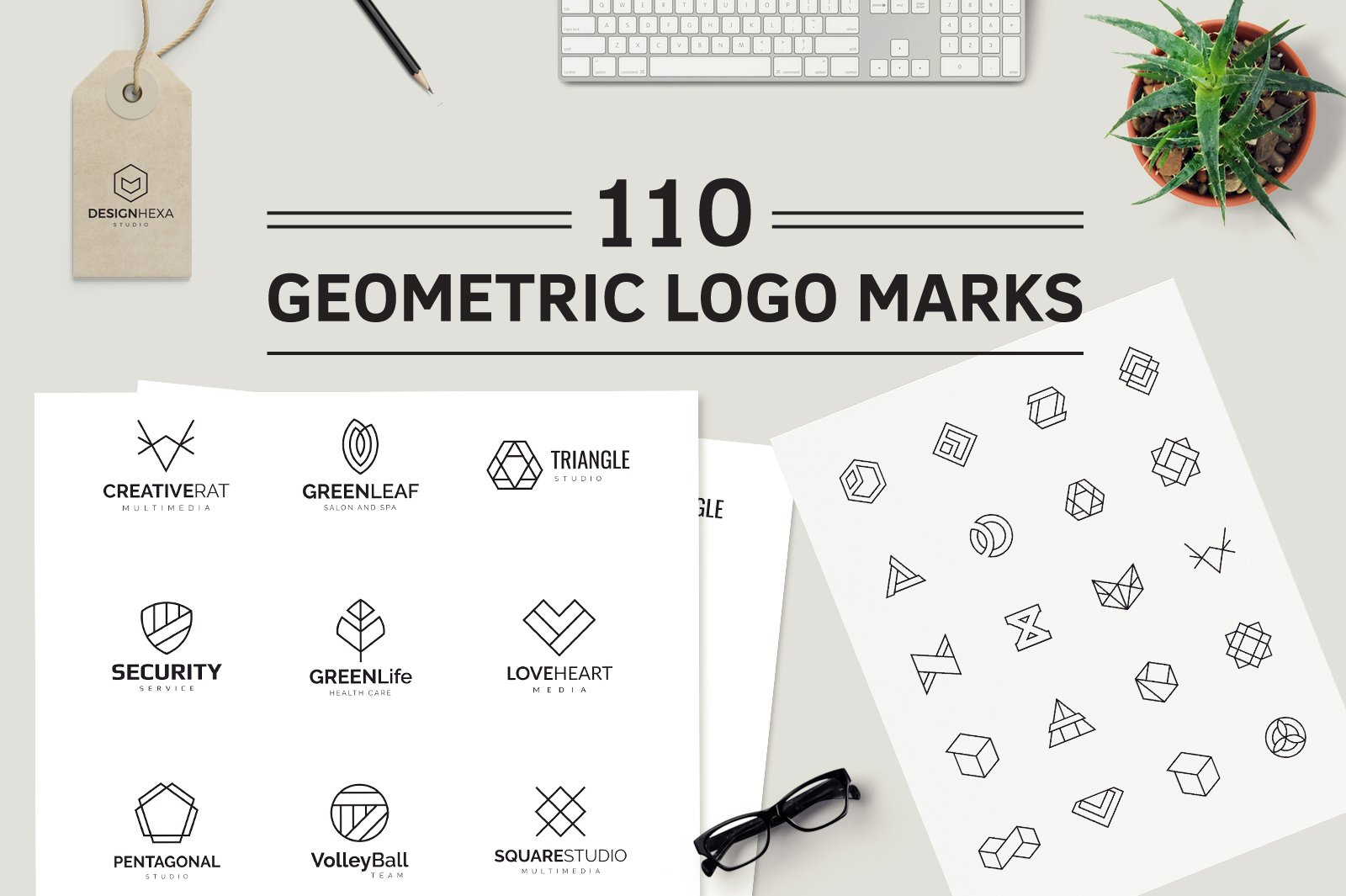 110 Geometric Logo Pack Templates Creative Market