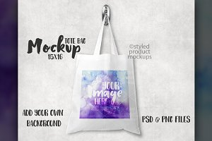 15 x 16 White Tote Bag Mockup