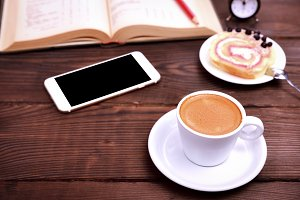 Cup of coffee, smartphone