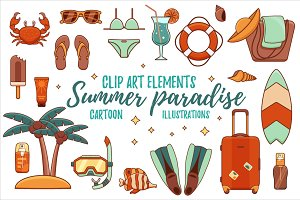 Summer paradise:clipart elements