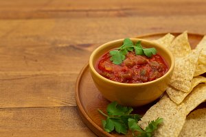 Spicy Red Salsa with tortilla chips