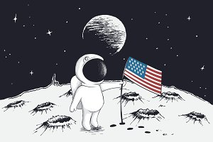astronaut sets a flag of USA on Moon