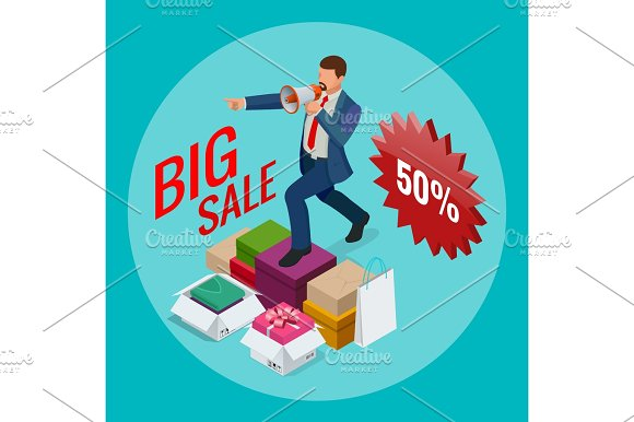 Isometric Man With Loudspeaker E-commerce Shopping Discount Big Sale Buy Now Concept