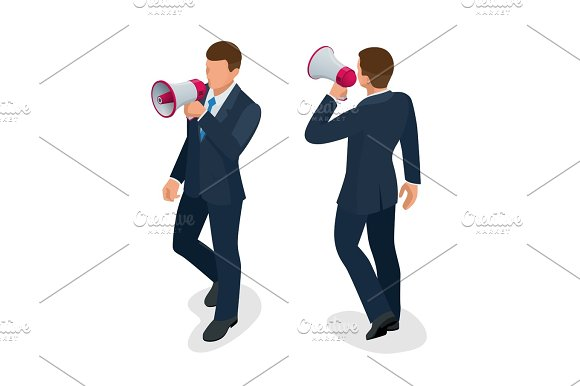 Isometric Man With Loudspeaker Flat Vector Illustration Speaker Or Loudspeaker