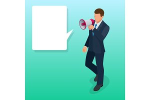Isometric Man with loudspeaker flat vector illustration. Speaker or loudspeaker.