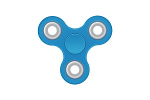 Hand spinner. Blue color. Realistic vector illustration isolated on white background. Top view.