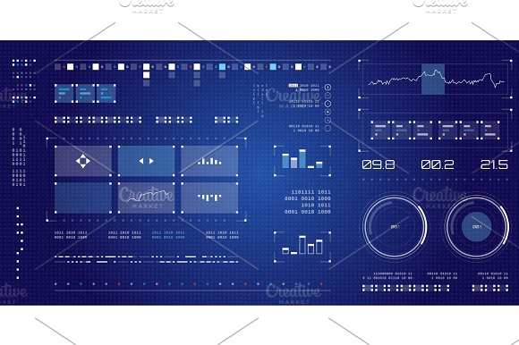 Futuristic User Interface Spaceship Screen Elements Set Infographic Display Dark Color Graphic Touch Screen