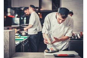sushi  preparing in the restaurant kitchen