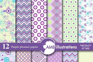 Purple Pattern Digital Paper AMB-802