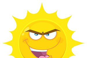 Evil Yellow Sun Cartoon Character