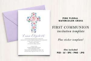 Watercolor Floral Cross Invitation