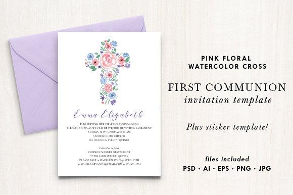 watercolor floral cross invitation invitation templates creative