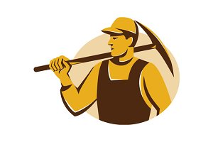 miner worker with pick ax retro